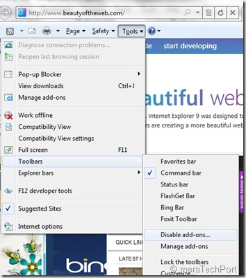 disable meet your new browser ie9